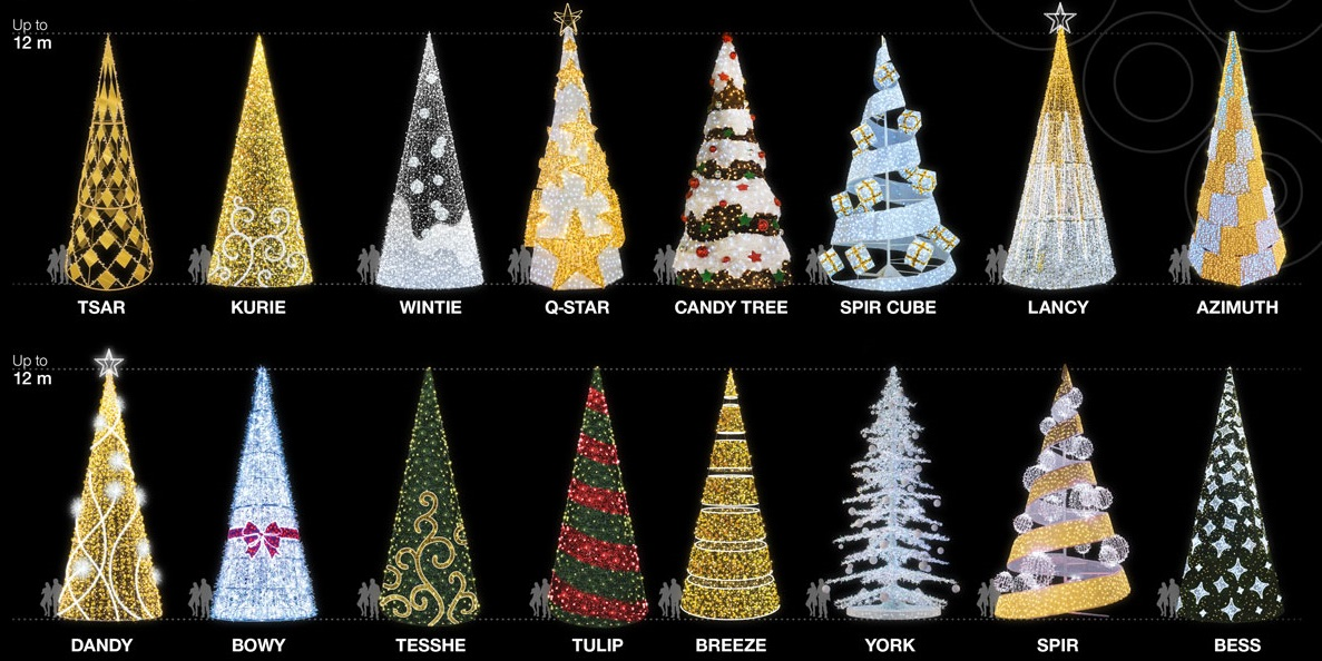 Contemporary Pre-lit LED Christmas Trees